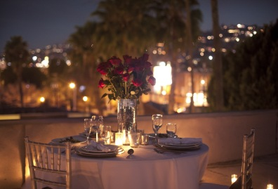 Surprise rooftop engagement dinner, West Hollywood, California