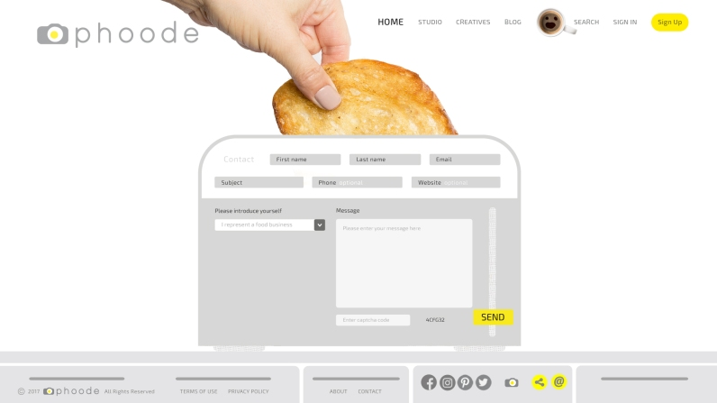 Phoode.com Online Food Photography Platform Contact Page Design