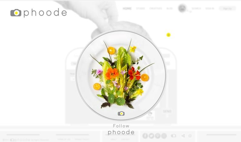 Phoode.com Online Food Photography Platform Follow Modal Design